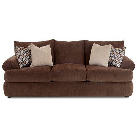 stationary sofa klaussner samantha casual upholstered stationary sofa