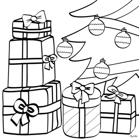 coloring page of christmas presents wrapped gifts and xmas tree coloring pages hellokids com