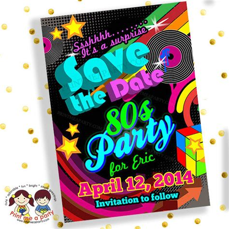 retro 80s party save the date invitation80s party invitations 80s party