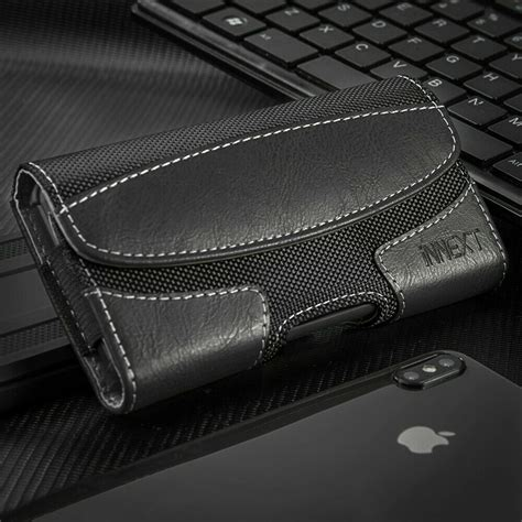horizontal pu leather case cover pouch holster belt clip