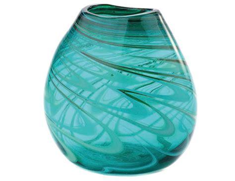 Wide Glass Vases by Steinhafels Wide Green Swirl Glass Vase