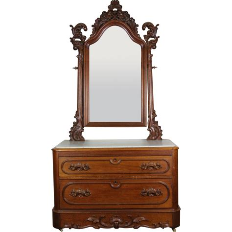 dresser top mirror american victorian marble top dresser with mirror c 1860