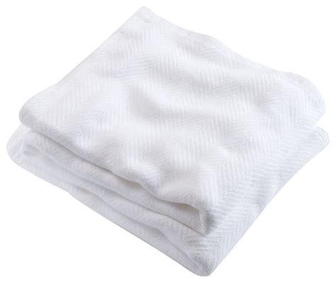 Blanket Made In Usa by Brahms Mount Cotton Blanket Herringbone White