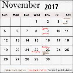 Calendar November 2017 With Holidays Calendar With November 2017 Templates Tools