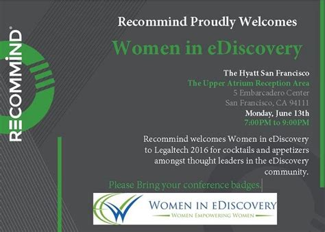 one discovery supports women in ediscovery as 2018 national sponsor women in ediscovery wie networking reception at
