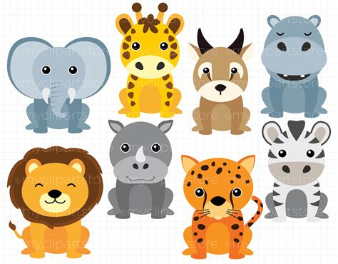 safari animals clip safari animals vector clipart by myclipartstore