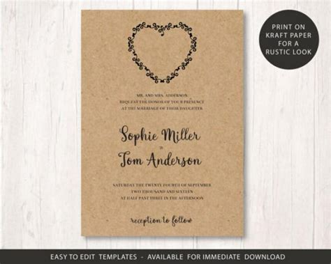 rustic wedding invitations templates wedding invite template printable wedding invitation set