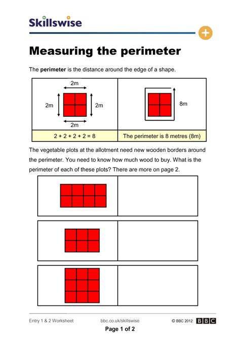 printable shapes to measure perimeter 100 measurement worksheets perimeter 3rd grade