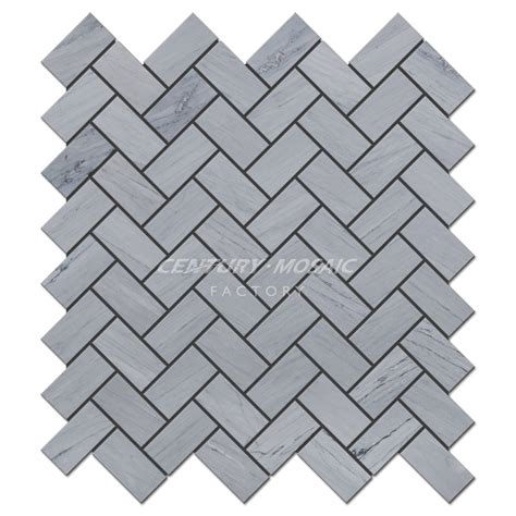 1 X3 Gray Ceramic Tile by Blue Herringbone Marble Mosaic Tile Collection