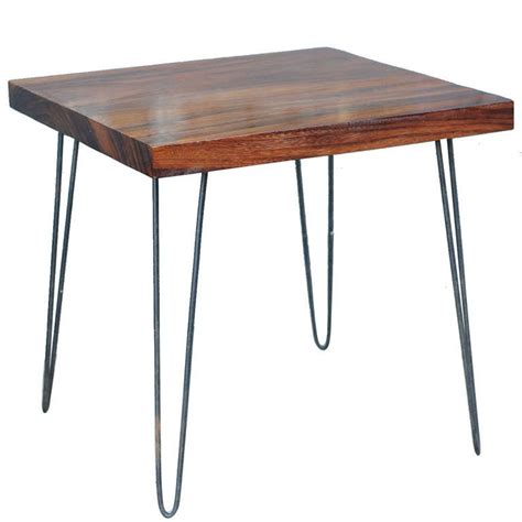 solid wood side table with vintage hair pin legs at 1stdibs