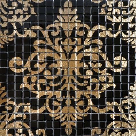 Mirror Murals Walls glass mosaic tile murals black and gold crystal backsplash