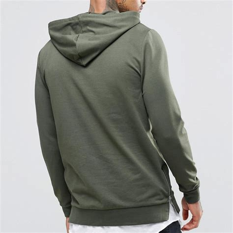 Side Slit shopping mens plain hooded sweatshirt side