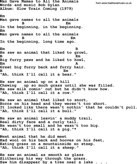 bob dylan song man gave names to all the animals lyrics
