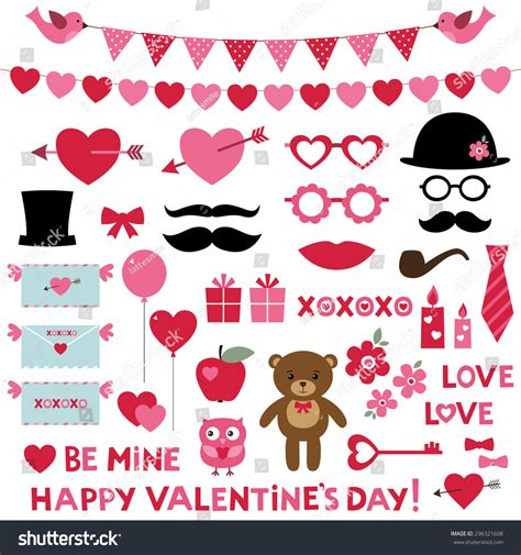 booth design for valentines valentines day vector set photo booth stock vector
