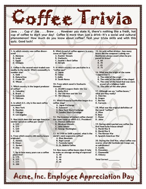 quiz questions jewellery coffee trivia printable game coffee theme birthdays