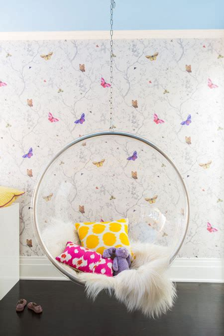 girls bedroom  clear hanging bubble chair