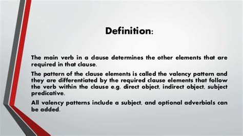 verb valency pattern valency patterns