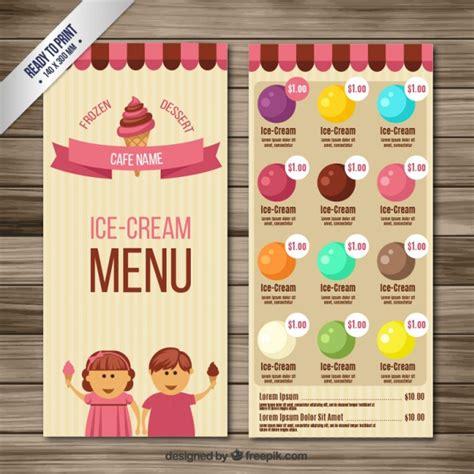 ice cream menu vector premium download
