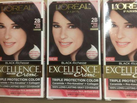 l oreal hair color 1b blue black cooler excellence creme richesse level3 ebay 3 x l oreal excellence black richesse hair color 2b blue black cooler 71249247365 ebay