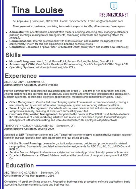 Resume Exles 2016 by Administrative Assistant Resume Sles 2016 Choose It