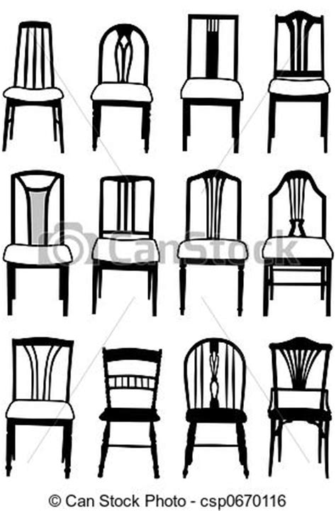 stock illustration dining chairs selection illustrated dining room chairs csp search clip art drawings illustrations