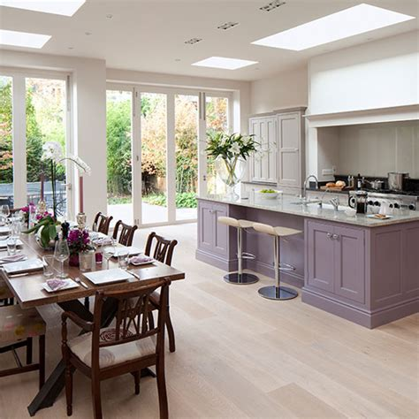 kitchen diner flooring ideas spacious grey and purple kitchen diner with oak wood floor kithen decorating ideal home
