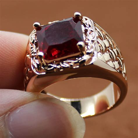nice handmade jewelry mens rose gold filled red cz band