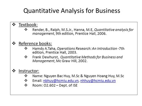 Research Methods For Business 7th Edition quantitative analysis for business ppt