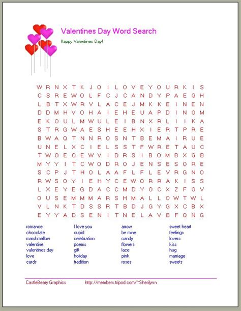 valentines word search for printable word search s day word