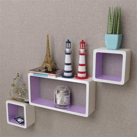 mensole per dvd articoli per 3 mensole per pareti bianche viola mdf per