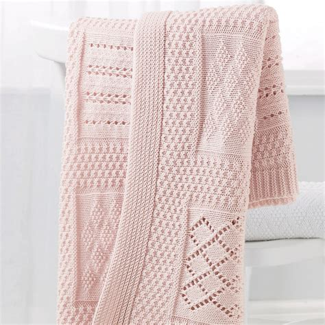 Knitted Patchwork Blanket - knitted patchwork baby blanket pink goodglance