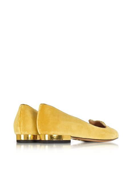 Flirty Flats by Lyst Olympia Emoticats Mellow Yellow Velvet