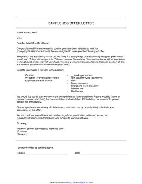 Offer Letter Format Canada offer letter sle canada docoments ojazlink