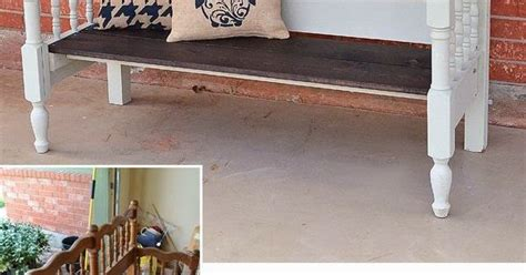 bed front bench upcycled bed to bench tutorial front porches diy and