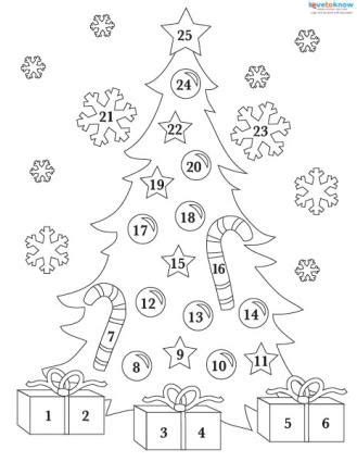 christmas tree advent calendar coloring page printable advent calendars lovetoknow