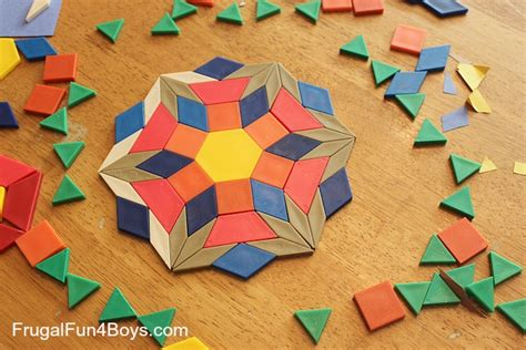 pattern making with different shapes pattern block art frugal fun for boys and girls