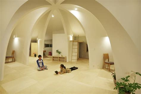 open concept japanese family home  domed interior