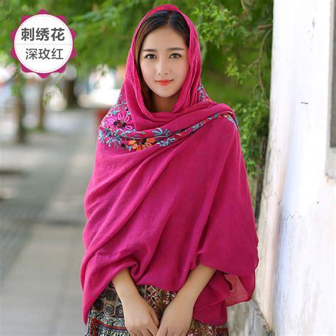 Scarf Syal Wanita 47 syal katun motif bunga scarf embroidery yellow jakartanotebook