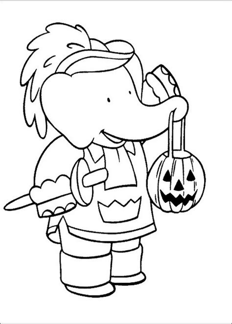 babar halloween coloring page