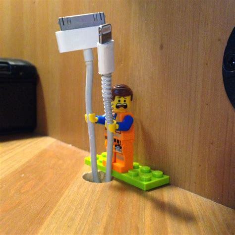 lego holder lego minifig as cable holder every cord is awesome