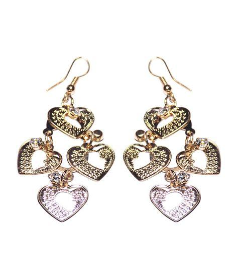 pattern for gold earrings optionsz long dangler heart pattern gold earrings buy