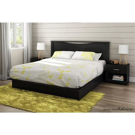 Platform King Size Bed South Shore Step One 2 Drawer King Size Platform Bed In Black 3107237 The Home Depot
