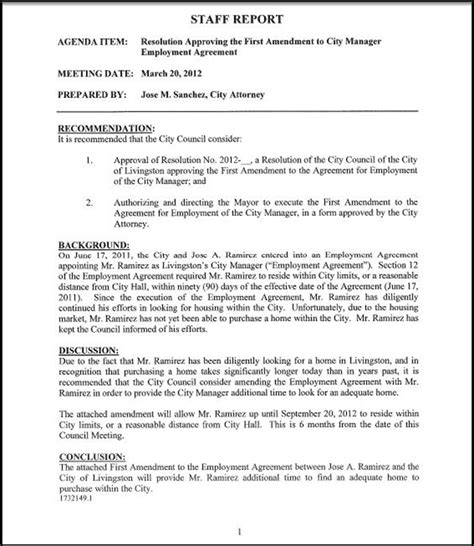 Contract Of Employment Amendment Letter Resolution Approving The Amendment To City Manager Employment Agreement