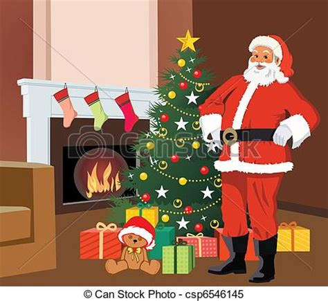 santacruz with christmas tree animated stock illustrations of santa claus standing with tree and gifts csp6546145 search