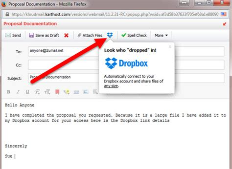 dropbox email using dropbox to send large files in professional webmail
