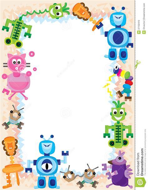 Lukisan Doodle A4 Colour Tidak Background Frame robot clipart border pencil and in color robot clipart border