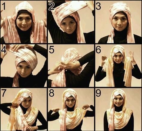 tutorial hijab pashmina menjadi turban lots of going on hijab style if you fancy turban style