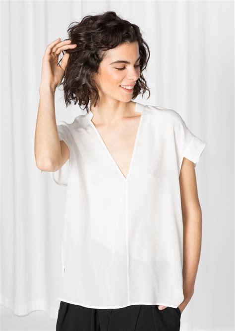 V Neck Basic Blouse White Neumor other stories v silk blouse basic
