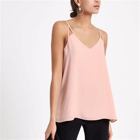 light pink top light pink split cami top cami sleeveless tops