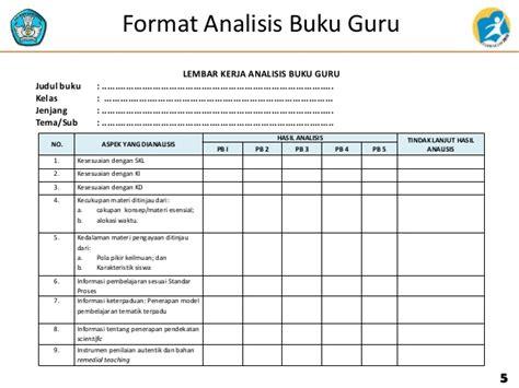 format buku kerja guru analisis buku guru dan siswa tematik